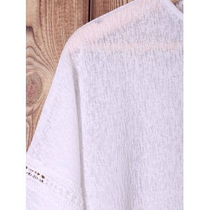 Stylish Batwing Sleeve White Hollow Out Fringed Women's Blouse -