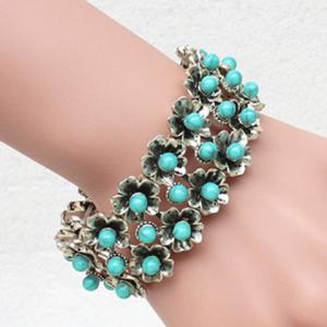 Stylish Faux Turquoise Flowers Elastic Bracelet For Women -