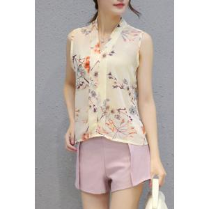 Ladylike V Neck Sleeveless Chiffon Top + Pure Color Shorts Twinset For Women -
