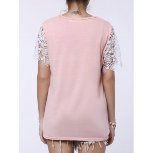 Stylish Round Collar Short Sleeve Spliced Cut Out Women's T-Shirt -