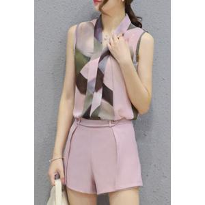 Ladylike V Neck Sleeveless Printed Chiffon Top + Solid Color Shorts Twinset For Women - SHALLOW PINK S