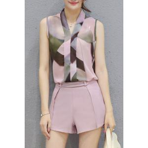 Ladylike V Neck Sleeveless Printed Chiffon Top + Solid Color Shorts Twinset For Women - Shallow Pink - L