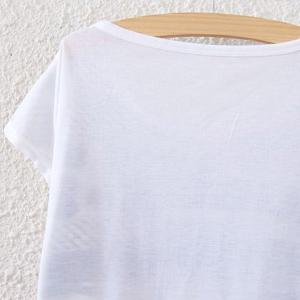 Printed Scoop Neck T-Shirt - WHITE ONE SIZE(FIT SIZE XS TO M)