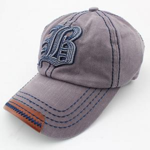 Stylish Sewing Thread and Retro Letters Shape Embellished Visor For Men - Gray