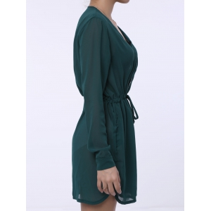 Stylish Plunging Neck Long Sleeve Pure Color Lace-Up Women's Dress -