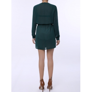Stylish Plunging Neck Long Sleeve Pure Color Lace-Up Women's Dress - GREEN XL