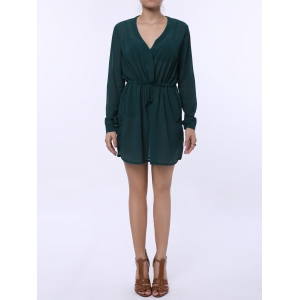 Stylish Plunging Neck Long Sleeve Pure Color Lace-Up Women's Dress - Green - Xl