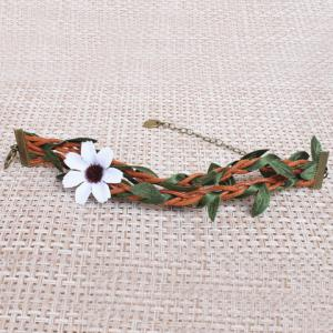 Handmade Knitted Rattan Leaf Flower Girl Feet Anklet -