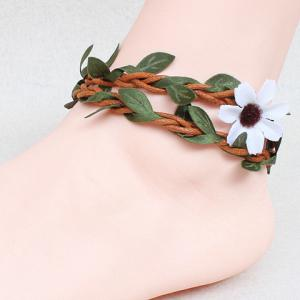 Handmade Knitted Rattan Leaf Flower Girl Feet Anklet