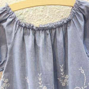 Cutwork Ruffle Tiny Floral Embroidered Blouse - DENIM BLUE ONE SIZE(FIT SIZE XS TO M)