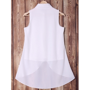 Stylish Shirt Collar Pure Color High Low Women's Tank Top -