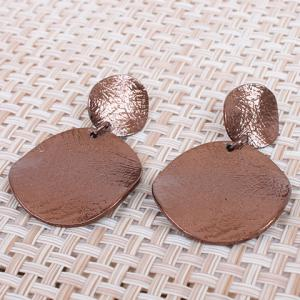 Pair of Statement Round Alloy Stud Earrings - COFFEE