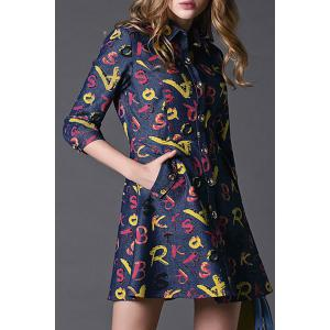 Single Breasted Letter Print Dress -