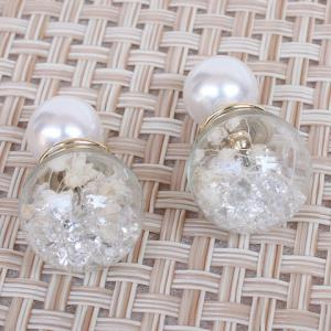 Pair of Glass Ball Faux Pearl Rhinestone Stud Earrings - COLORMIX