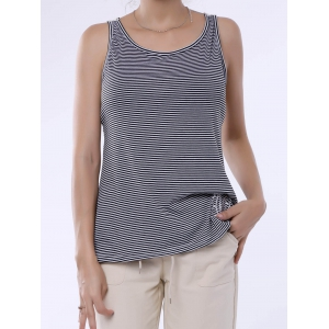 Stylish Scoop Neck Lace Splicing Striped Embroidery Tank Top For Women - Gray - S