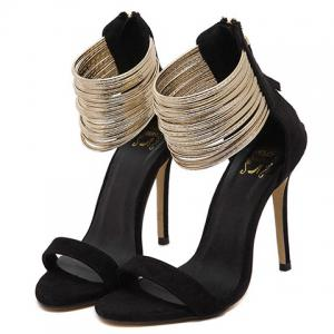 Stylish Zip and Suede Design Sandals For Women -