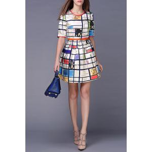 Character Print Plaid Dress -