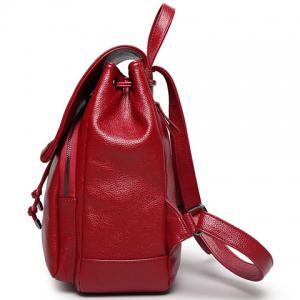 Fashion Solid Color and Drawstring Design Satchel For Women - BROWN