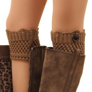 Pair of Chic Button Embellished Hollow Out Mesh Shape Knitted Boot Cuffs For Women - COLOR ASSORTED