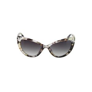 Audrey Hepburn Cat Eye Inlay Flower Sunglasses - LIGHT YELLOW