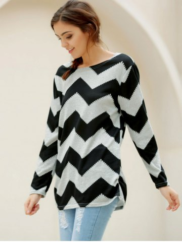 Chic Casual Long Sleeve Round Neck Wavy Line Print Women's T-Shirt - XL GRAY AND BLACK Mobile