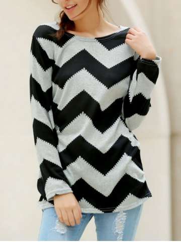 Buy Casual Long Sleeve Round Neck Wavy Line Print Women's T-Shirt