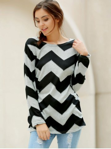 Hot Casual Long Sleeve Round Neck Wavy Line Print Women's T-Shirt - XL GRAY AND BLACK Mobile