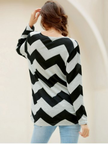 Affordable Casual Long Sleeve Round Neck Wavy Line Print Women's T-Shirt - XL GRAY AND BLACK Mobile