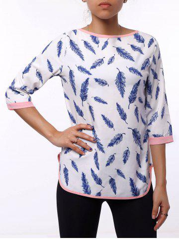 Affordable Casual Leaf Printed 3/4 Sleeve Cut Out Blouse For Women WHITE XL