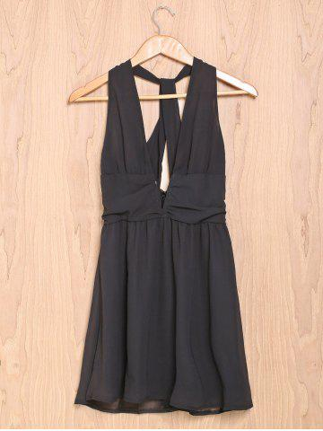 Sexy Plunging Neckline Sleeveless Open Back A-Line Chiffon Dress For Women - Black - L