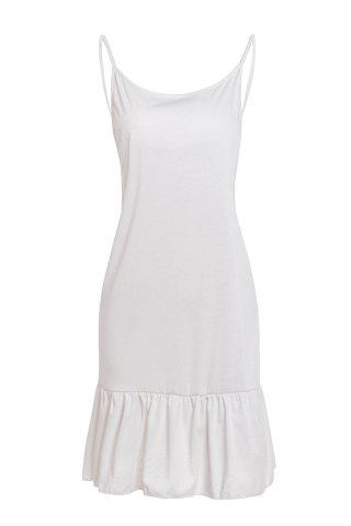 Shop Cute Spaghetti Strap White Open Back Summer Dress For Women WHITE XL