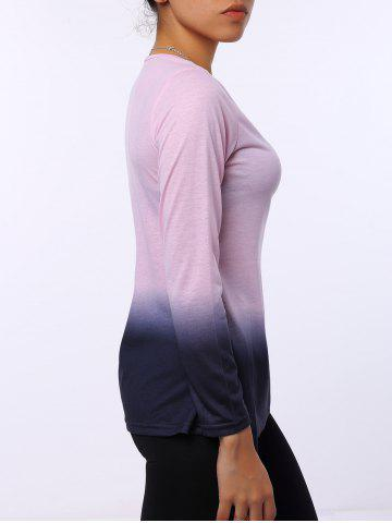 Shop Stylish Round Neck Long Sleeve Ombre Color Women's T-Shirt - S PINK Mobile