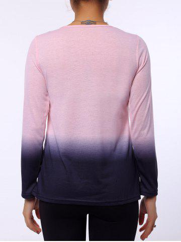 Fashion Stylish Round Neck Long Sleeve Ombre Color Women's T-Shirt - M PINK Mobile