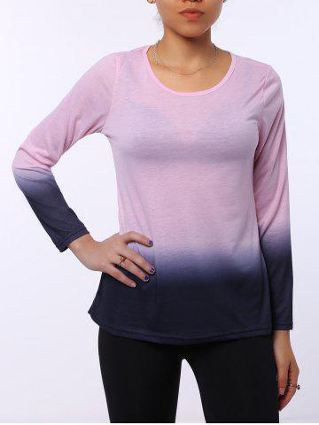 New Stylish Round Neck Long Sleeve Ombre Color Women's T-Shirt - L PINK Mobile