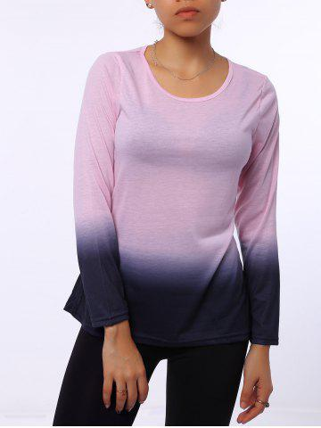 Trendy Stylish Round Neck Long Sleeve Ombre Color Women's T-Shirt - L PINK Mobile
