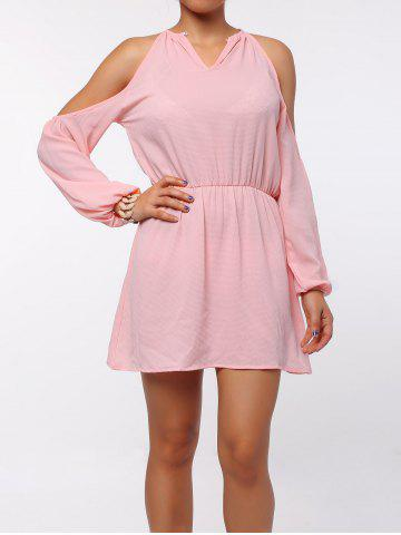 New Cold Shoulder Long Sleeve Races Chiffon Dress - M PINK Mobile