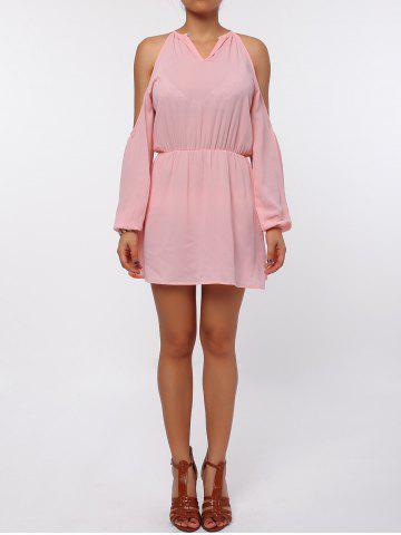 Trendy Cold Shoulder Long Sleeve Races Chiffon Dress - XL PINK Mobile