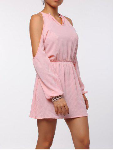 Unique Cold Shoulder Long Sleeve Races Chiffon Dress - XL PINK Mobile