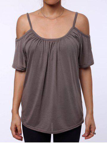 Chic Simple Scoop Neck Short Sleeve Off-The-Shoulder Solid Color Women's T-Shirt KHAKI L