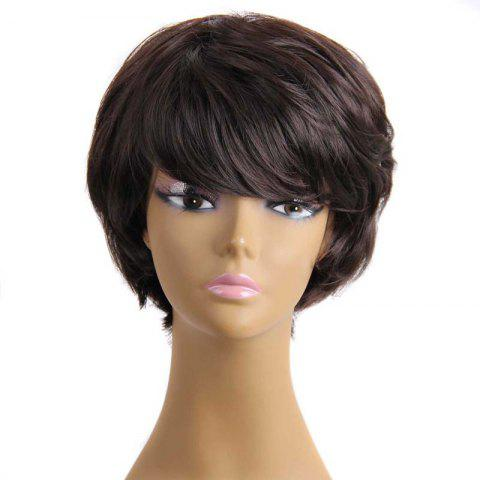 Trendy Stylish Fluffy Neat Bang Charming Short Wavy Synthetic Capless Wig For Women
