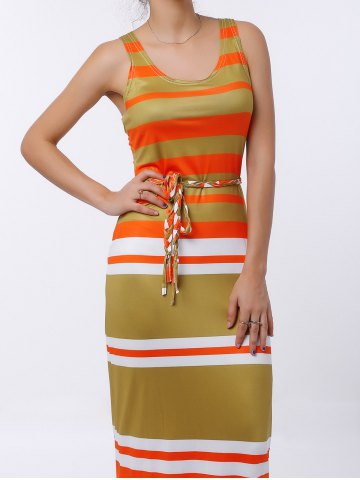 Shop U-Neck Striped Sleeveless Striped Dress COLORMIX M