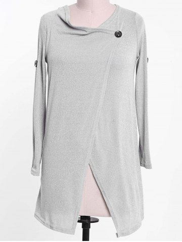 Elegant Cowl Neck Solid Color Slit Asymmetric Pullover Sweater For Women - LIGHT GRAY - ONE SIZE(FIT SIZE XS TO M)