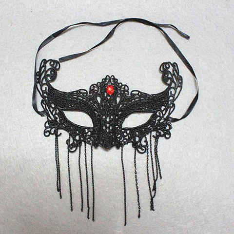 Online Fashion Rhinestone Decorated Openwork Lace Tassel Mask For Women BLACK