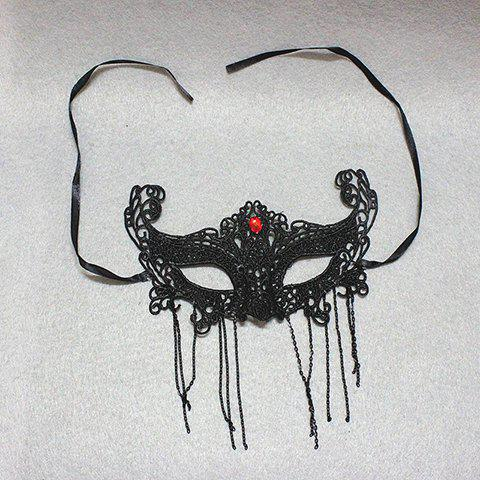 Trendy Fashion Rhinestone Decorated Openwork Lace Tassel Mask For Women - BLACK  Mobile