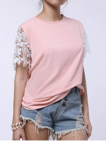 Online Stylish Round Collar Short Sleeve Spliced Cut Out Women's T-Shirt - L PINK Mobile