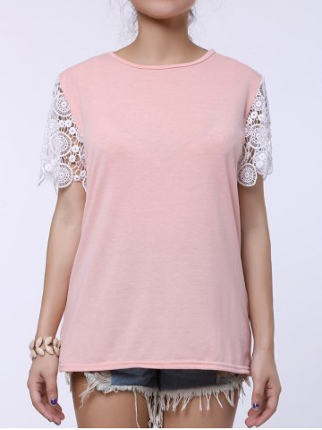 Stylish Round Collar Short Sleeve Spliced Cut Out Women's T-Shirt - PINK L