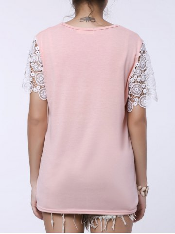 Hot Stylish Round Collar Short Sleeve Spliced Cut Out Women's T-Shirt - L PINK Mobile
