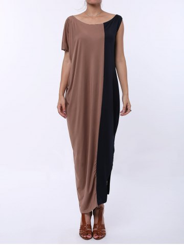 Outfit Color Block Short Sleeve T-shirt Maxi Dress COFFEE/BLACK S