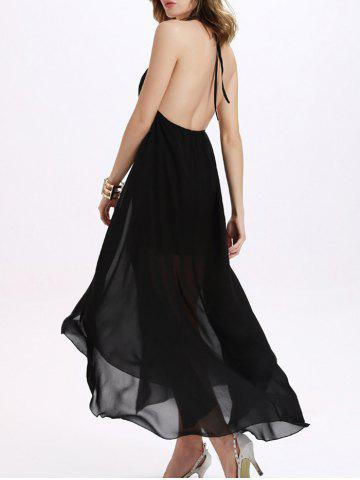 Open Back Prom Halter Neck Long Formal Dress - Black - Xl