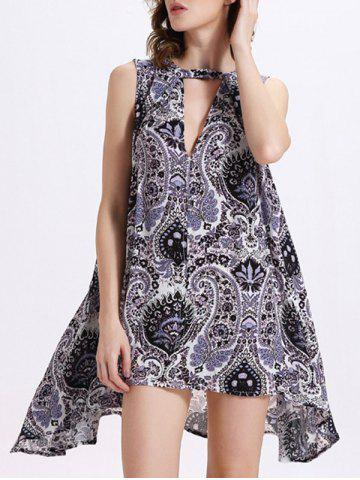 Online Chic Women's Keyhole Neck Sleeveless Print Dress